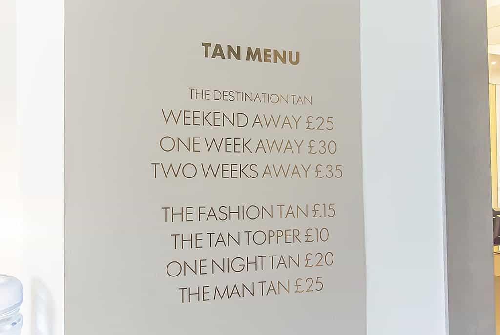 Harvey Nichols Beauty Bazaar Liverpool Tanning Price List