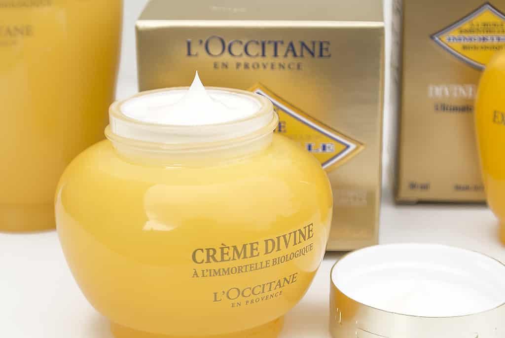 L'Occitane Divine Cream with Lid off and Cream in Jar