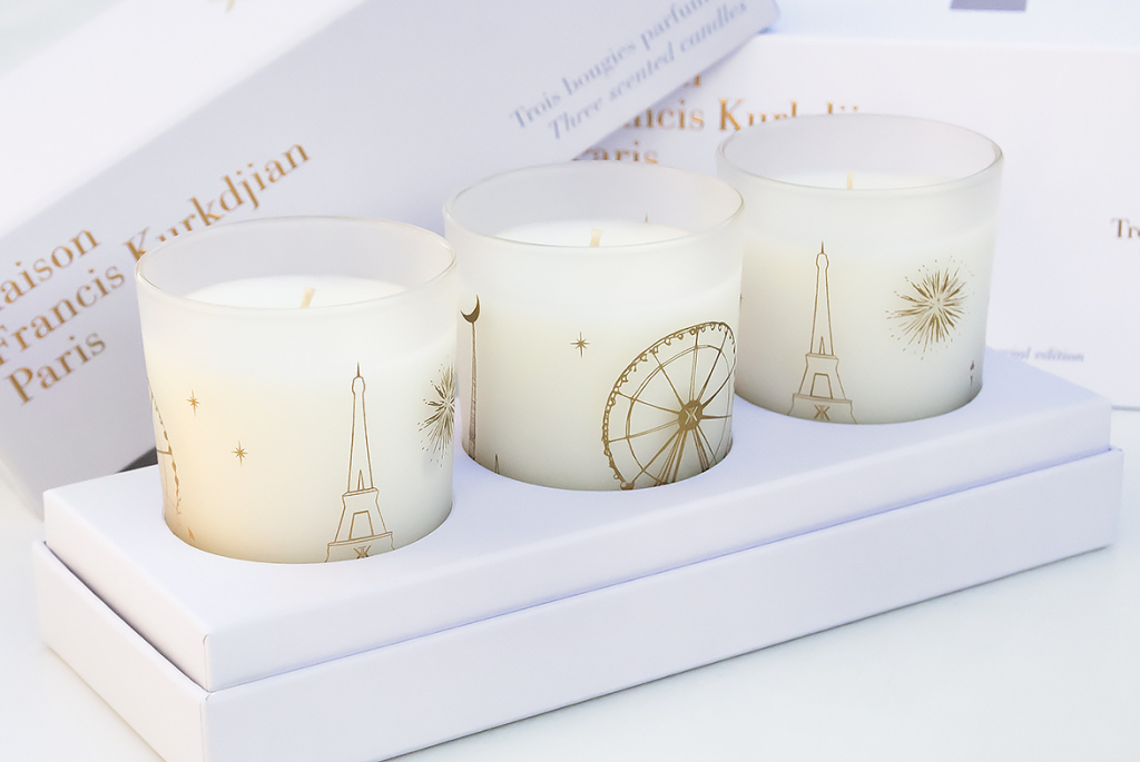 Francis Kurkdjian Three Scented Candles Open in Box